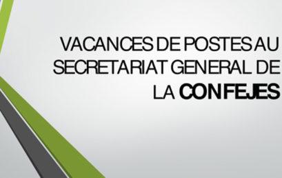 Vacances de postes au Secrétariat général