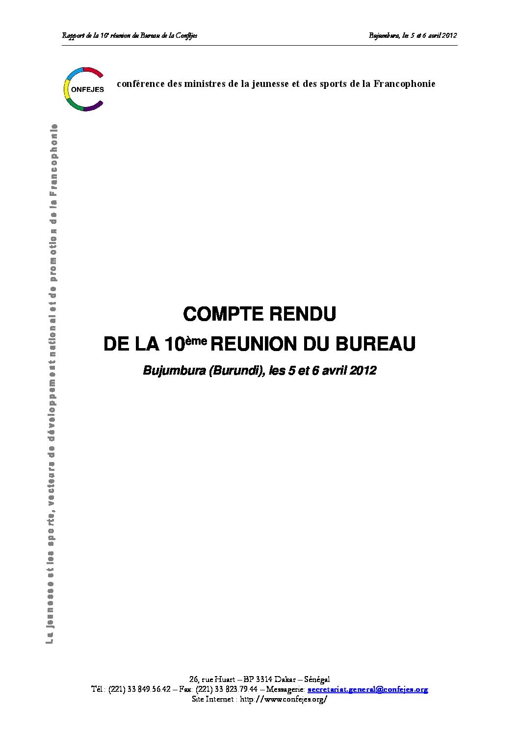 Compte Rendu De La 10eme Reunion Du Bureau