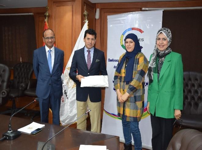 Remise de financement organisée par le Ministère égyptien de la Jeunesse et des sports en collaboration avec la CONFEJES pour le compte du PPEJ 2019.