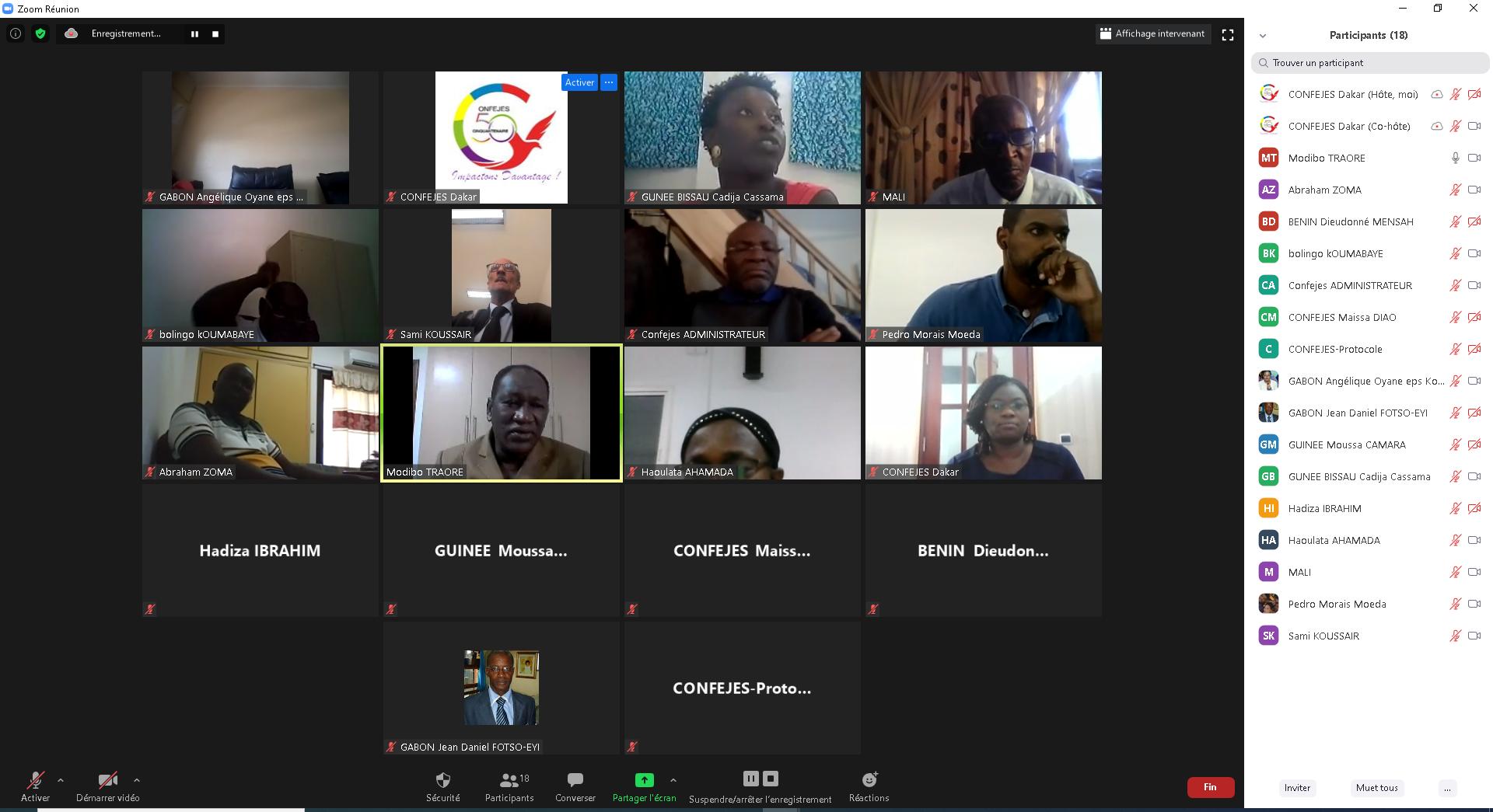 La CONFEJES organise en virtuel un atelier de renforcement des capacités des coordonnateurs « Appui à l'émergence et à la préparation de l'Elite sportive aux plans national et international (APEJ) ».